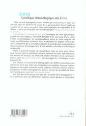 Jung catalogue chronologique des ecrits - 4ème de couverture - Format classique