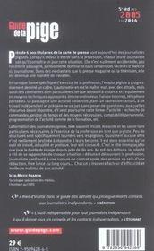 Guide De La Pige 5e Ed(2005-2006) - 4ème de couverture - Format classique