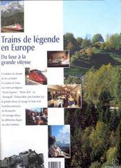 Trains de legende ; en europe - 4ème de couverture - Format classique