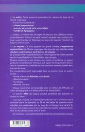400 manipulations commentées de chimie organique t.1 ; de l'expérience au concept - 4ème de couverture - Format classique