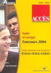 Acces ; Sujets Et Corriges ; Concours 2004 - Intérieur - Format classique