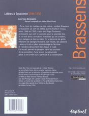 Lettres à Toussenot ; 1946-1950 - 4ème de couverture - Format classique