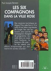 Les six compagnons - t18 - les six compagnons 18 - les six compagnons dans la ville rose - 4ème de couverture - Format classique