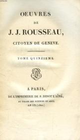 Oeuvres De J. J. Rousseau, Citoyen De Geneve, Tome Xv - Couverture - Format classique