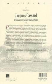 Jacques cassard, armateur et corsaire du roi-soleil - 4ème de couverture - Format classique