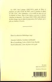 La propriété ; origine et évolution ; thèse communiste - 4ème de couverture - Format classique