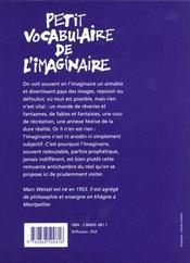Petit vocabulaire de l'imaginaire - 4ème de couverture - Format classique