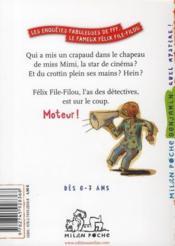 Les enquêtes fabuleuses du fameux Félix File-Filou T.3 ; l'énigme du crottin qui pue - 4ème de couverture - Format classique