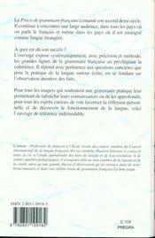 Precis De Grammaire Francaise - 4ème de couverture - Format classique