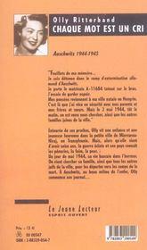 Chaque mot est un cri ; auschwitz, 1944-1945 - 4ème de couverture - Format classique
