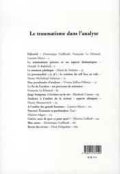 Le traumatisme dans l'analyse - 4ème de couverture - Format classique
