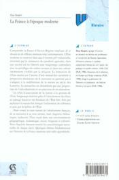 La france a l'epoque moderne - 4ème de couverture - Format classique