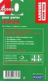 40 Lecons Pour Parler Italien - 4ème de couverture - Format classique