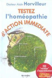 Testez l'homeopathie d'action immediate ; 200 specifiques - Intérieur - Format classique