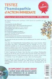 Testez l'homeopathie d'action immediate ; 200 specifiques - 4ème de couverture - Format classique