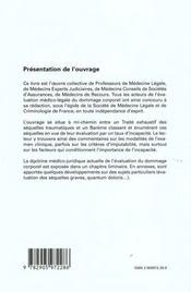 Les sequelles traumatiques, evaluation medico-legale des incapacites permanentes - 4ème de couverture - Format classique