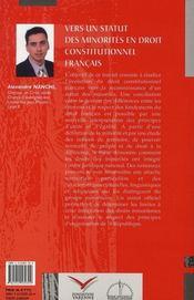 Vers un statut des minorités en droit contitutionnel français - 4ème de couverture - Format classique