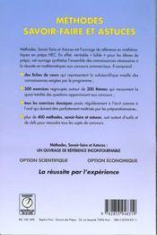 Méthodes, savoir-faire et astuces - 4ème de couverture - Format classique