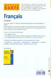 Le Francais Aux Concours Paramedicaux Et Sociaux - 4ème de couverture - Format classique