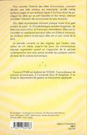 Histoire De La Pensee Economique - 4ème de couverture - Format classique