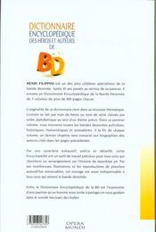 Dictionnaire des heros et auteurs de bd t.1 ; policier , humour , histoire , animalier - 4ème de couverture - Format classique