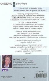 Gainsbourg ... Sur Parole - 4ème de couverture - Format classique