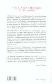 Theologie Chretienne Du Judaisme - 4ème de couverture - Format classique