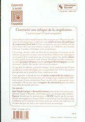 Construire Une Ethique De La Cooperation - 4ème de couverture - Format classique