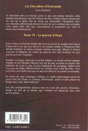 Les chevaliers d'Emeraude T.6 ; le journal d'Onyx - 4ème de couverture - Format classique