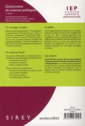 Dictionnaire de sciences politiques et sociales (2e édition) - 4ème de couverture - Format classique