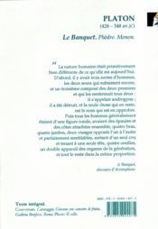 Le banquet ; Phèdre ; Menon - 4ème de couverture - Format classique