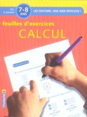 Feuilles d'exercices calcul ; CE1, 2e primaire - Couverture - Format classique