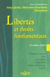 Libertes Et Droits Fondamentaux ; Cours Exercices Corriges ; 8e Edition - Intérieur - Format classique