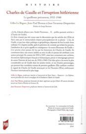 Charles de Gaulle et l'irruption hitlérienne - 4ème de couverture - Format classique