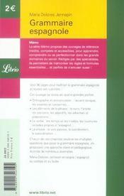 Grammaire espagnole - 4ème de couverture - Format classique
