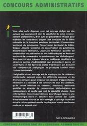 La Filiere Culturelle Territoriales Categories A Et B Concours Externe Et Interne Fonction Publique - 4ème de couverture - Format classique