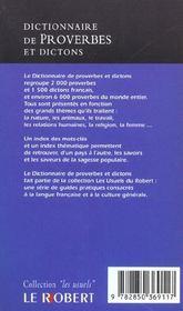 Dict de proverbes et dictons - 4ème de couverture - Format classique