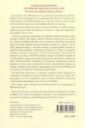 Familles lyonnaises, victimes du siège de Lyon en 1793 - 4ème de couverture - Format classique