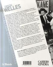 Orson Welles - 4ème de couverture - Format classique