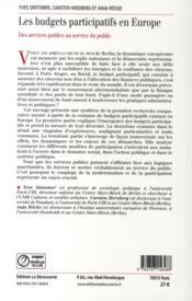Les budgets participatifs en Europe - 4ème de couverture - Format classique
