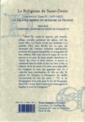 Chronique du règne de Charles VI t.9 (1419-1422) ; la Grande misère du royaume de France - 4ème de couverture - Format classique