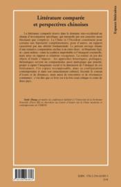 Littérature comparée et perspectives chinoises - 4ème de couverture - Format classique