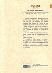 Souvenirs de Bordeaux ; IVe siècle - 4ème de couverture - Format classique