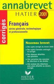 Annabrevet Francais - Corriges 2001 - Intérieur - Format classique