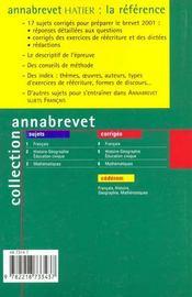 Annabrevet Francais - Corriges 2001 - 4ème de couverture - Format classique