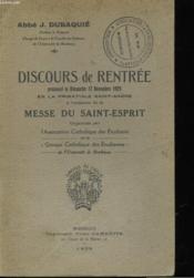 Discours De Rentree - Couverture - Format classique