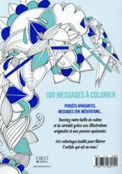 100 nouveaux messages à colorier ; détente et apaisement - 4ème de couverture - Format classique