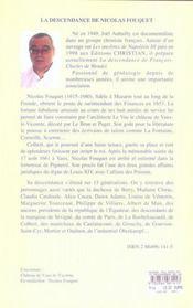 La descendance de Nicolas Fouquet - 4ème de couverture - Format classique