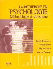 Recherche En Psychologie Methodologie Et Statistique - Intérieur - Format classique
