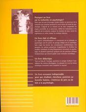 Recherche En Psychologie Methodologie Et Statistique - 4ème de couverture - Format classique